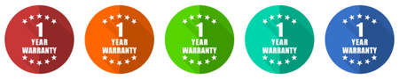 Warranty guarantee 1 year icon set, red, blue, green and orange flat design web buttons isolated on white background, vector illustration