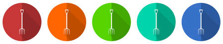 Fork, gardening tool icon set, red, blue, green and orange flat design web buttons isolated on white background, vector illustration
