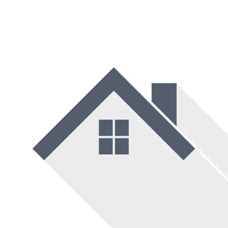 House, roof and window flat design vector icon