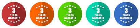 Warranty guarantee 3 year icon set, red, blue, green and orange flat design web buttons isolated on white background, vector illustration