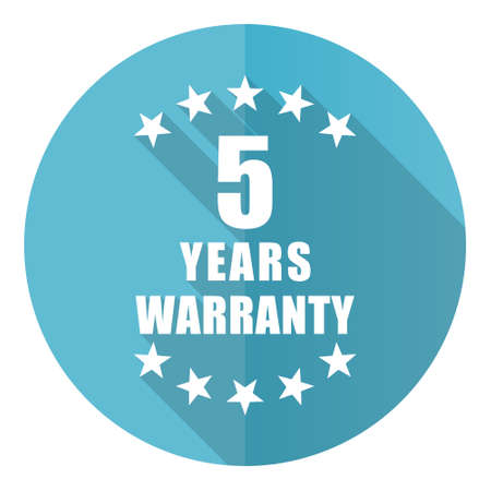 Warranty guarantee 5 year vector icon, flat design blue round web button isolated on white background