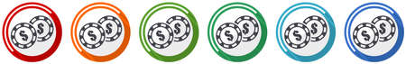 Casino chips icon set, flat design vector illustration in 6 colors options for webdesign and mobile applications