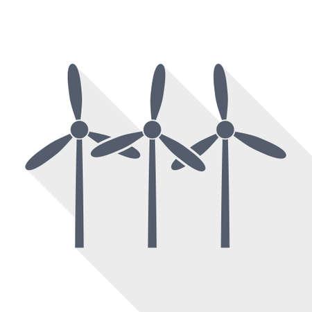 Wind turbine, renewable energy flat design vector icon