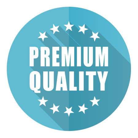 Premium quality vector icon, flat design blue round web button isolated on white background
