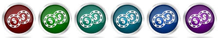Casino chips icons, set of silver metallic glossy web buttons in 6 color options isolated on white background