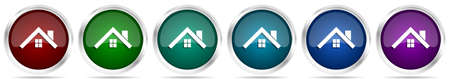 House, roof and window icons, set of silver metallic glossy web buttons in 6 color options isolated on white background