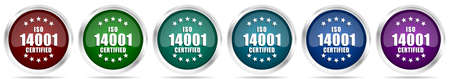 Iso 14001 icons, set of silver metallic glossy web buttons in 6 color options isolated on white background
