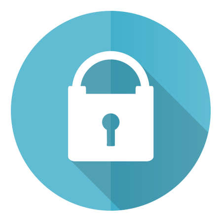 Padlock vector icon, security flat design blue round web button isolated on white background
