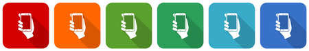 Smartphone in hand, mobile phone icon set, flat design vector illustration in 6 colors options for webdesign and mobile applications