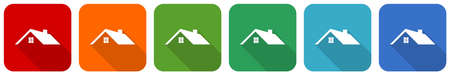 House, home, real estate concept icon set, flat design vector illustration in 6 colors options for webdesign and mobile applications