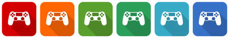 Wireless gaming controller, gamepad icon set, flat design vector illustration in 6 colors options for webdesign and mobile applications