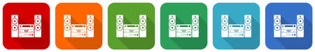 Music, stereo equipment icon set, flat design vector illustration in 6 colors options for webdesign and mobile applications Иллюстрация