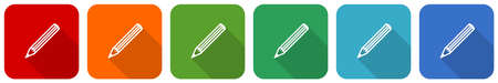 Pencil icon set, flat design vector illustration in 6 colors options for webdesign and mobile applications