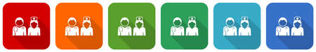 Doctor icon set, flat design vector illustration in 6 colors options for webdesign and mobile applications