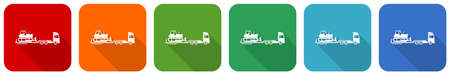 Truck with bulldozer on tow trailer, long vehicle icon set, flat design vector illustration in 6 colors options for webdesign and mobile applications