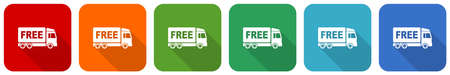 Free delivery icon set, flat design vector illustration in 6 colors options for webdesign and mobile applications