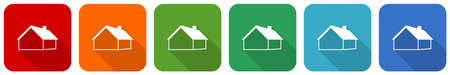 House and real estate concept icon set, flat design vector illustration in 6 colors options for webdesign and mobile applications