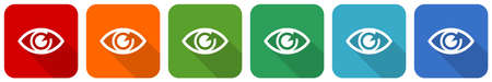 Eye icon set, flat design vector illustration in 6 colors options for webdesign and mobile applications