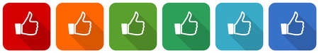 Like icon set, flat design vector illustration in 6 colors options for webdesign and mobile applications