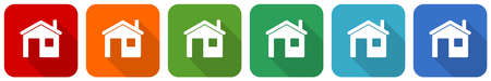 House, home icon set, flat design vector illustration in 6 colors options for webdesign and mobile applications  イラスト・ベクター素材