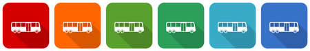 Bus icon set, flat design vector illustration in 6 colors options for webdesign and mobile applications