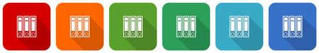 Binder, folder, document, file icon set, flat design vector illustration in 6 colors options for webdesign and mobile applications Illustration