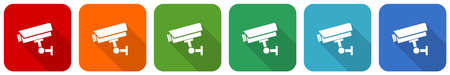 Cctv camera icon set, flat design vector illustration in 6 colors options for webdesign and mobile applications Ilustração