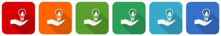 Light, idea, bulb icon set, flat design vector illustration in 6 colors options for webdesign and mobile applications