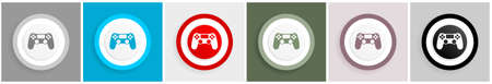 Wireless gaming controller, gamepad icon set, colorful flat design vector illustrations in 6 options for web design and mobile applications