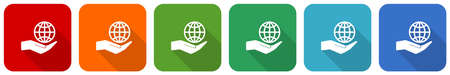 Hand care planet environment icon set, flat design vector illustration in 6 colors options for webdesign and mobile applications
