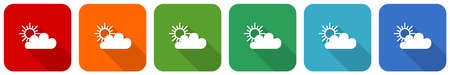 Cloud icon set, flat design vector illustration in 6 colors options for webdesign and mobile applications
