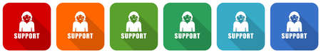 Support icon set, flat design vector illustration in 6 colors options for webdesign and mobile applications