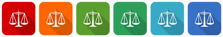 Justice icon set, flat design vector illustration in 6 colors options for webdesign and mobile applications