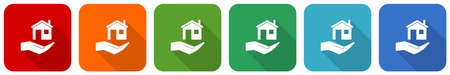 House care icon set, flat design vector illustration in 6 colors options for webdesign and mobile applications