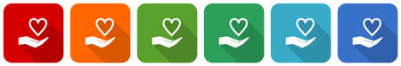 Care love icon set, flat design vector illustration in 6 colors options for webdesign and mobile applications