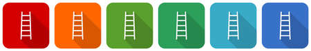 Ladder, step, climb, tool, level icon set, flat design vector illustration in 6 colors options for webdesign and mobile applications 向量圖像