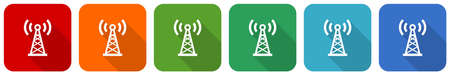 Antenna, network icon set, flat design vector illustration in 6 colors options for webdesign and mobile applications