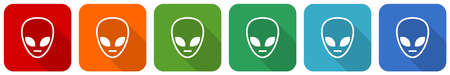 Alien face icon set, flat design vector illustration in 6 colors options for webdesign and mobile applications