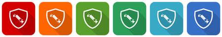 Vaccine shield concept icon set, flat design vector illustration in 6 colors options for webdesign and mobile applications Ilustração