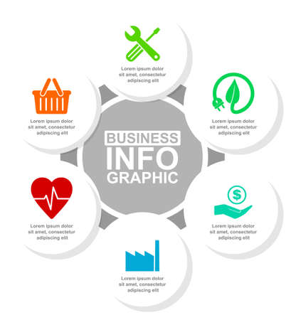 Flat design business infographic vector template for presentations and diagrams with 6 options Ilustração