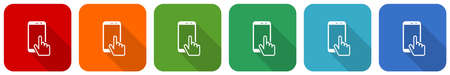 Smartphone, mobile phone icon set, flat design vector illustration in 6 colors options for webdesign and mobile applications Vettoriali