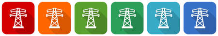Power, energy tower icon set, flat design vector illustration in 6 colors options for webdesign and mobile applications 向量圖像