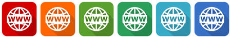 Web, www and internet icon set, flat design vector illustration in 6 colors options for webdesign and mobile applications