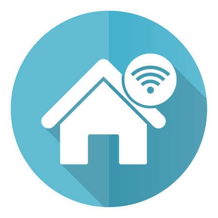Internet, home, house blue vector icon, flat design illustration