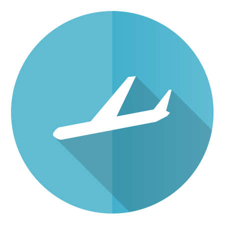 Arrivals vector icon, flight, airplane flat design blue round web button isolated on white background