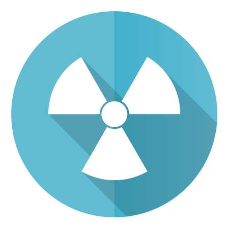 Radiation vector icon, flat design blue round web button isolated on white background Ilustrace