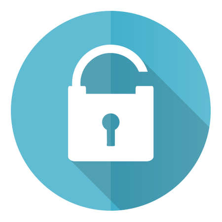 Padlock vector icon, security flat design blue round web button isolated on white background Vektorové ilustrace