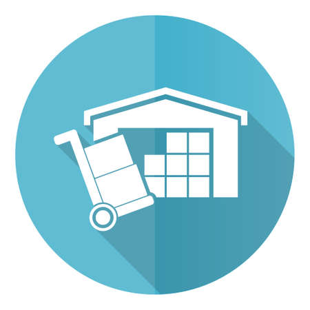 Warehouse and shipping barrow, delivery, freight concept blue vector icon, flat design illustration