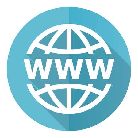 Web, www and internet blue vector icon, flat design illustration 矢量图像