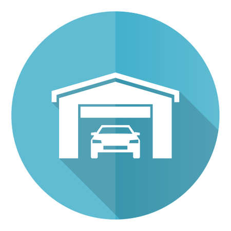 Car in a garage blue vector icon, flat design illustration